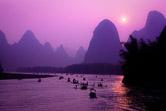 Lijiang River on sunset in Guangxi Zhuang Autonomous Region. China, May 1, 2008.