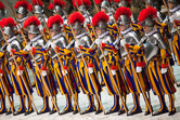 Swiss guard recruit during the swearing-in ceremony of the Vatican's elite Swiss Guard at Paul VI hall. Vatican City, May 6, 2010.